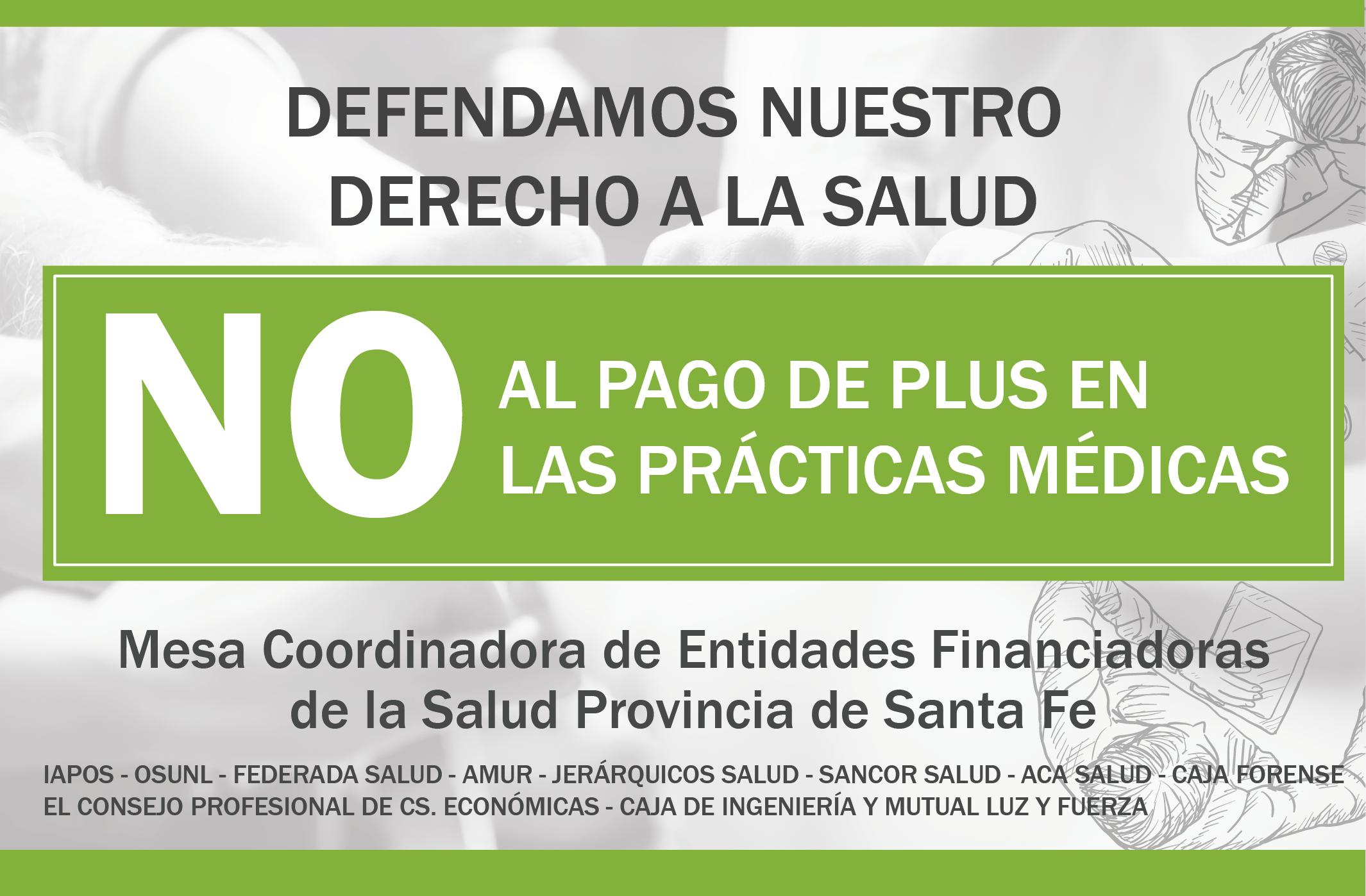 Financiadoras de salud de Santa Fe se pronuncian contra el cobro de plus